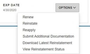 DELPROS Reinstate or Reapply for a License